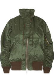Sacai MA-1 satin hooded bomber jacket