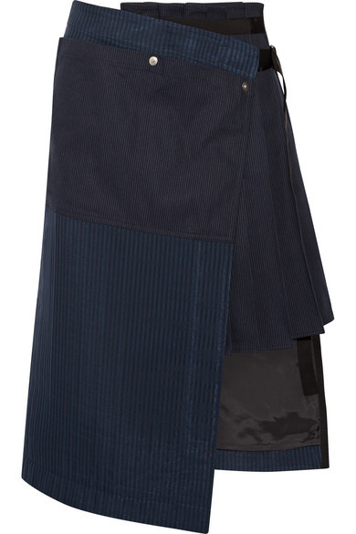 Sacai - Hickory Asymmetric Pleated Striped Cotton-canvas And Organza Skirt - Navy