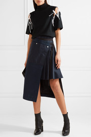 Hickory asymmetric pleated striped cotton-canvas and organza skirt