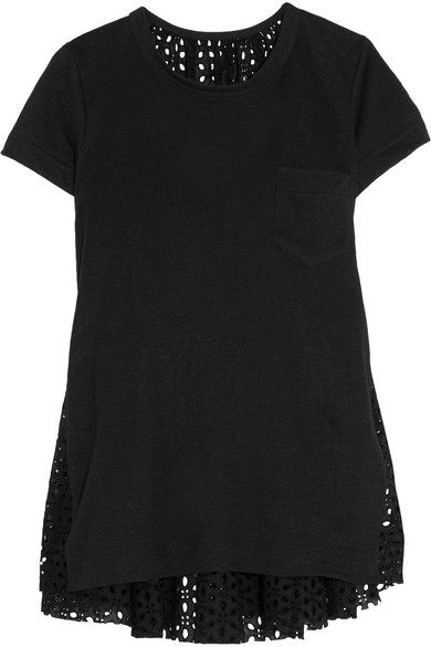 Sacai - Oversized Stretch-linen And Broderie Anglaise Top - Black