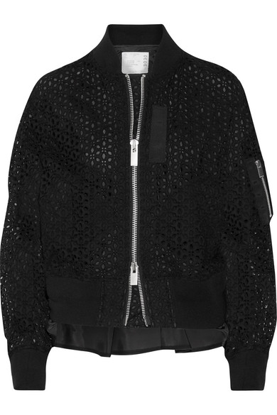 Sacai - Shell-trimmed Broderie Anglaise Cotton Bomber Jacket - Black