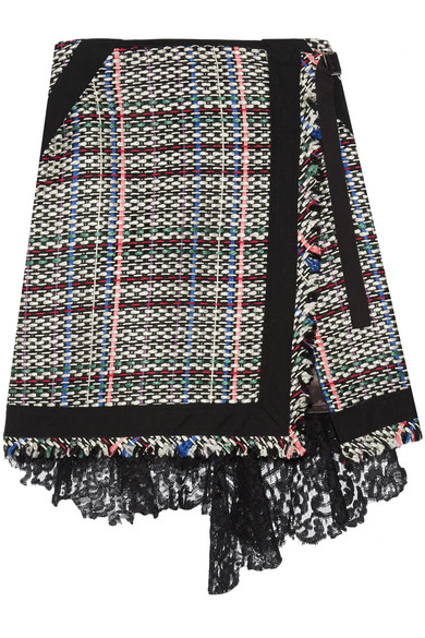 Corded lace and twill-trimmed tweed wrap-effect skirt
