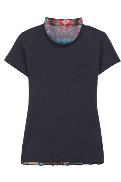 Sacai - Linen-blend Jersey And Pleated Printed Chiffon T-shirt - Navy