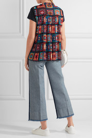 Linen-blend jersey and pleated printed chiffon T-shirt