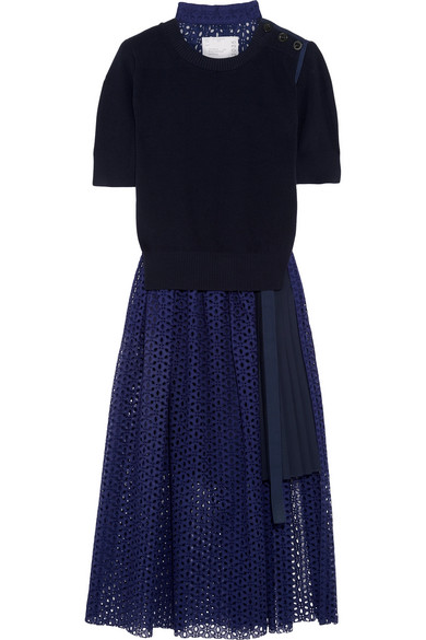 Sacai - Knitted And Broderie Anglaise Cotton Midi Dress - Navy