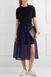 Knitted and broderie anglaise cotton midi dress