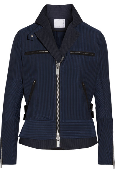 Sacai - Hickory Twill-trimmed Striped Cotton-canvas Peplum Jacket - Navy