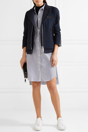 Hickory twill-trimmed striped cotton-canvas peplum jacket