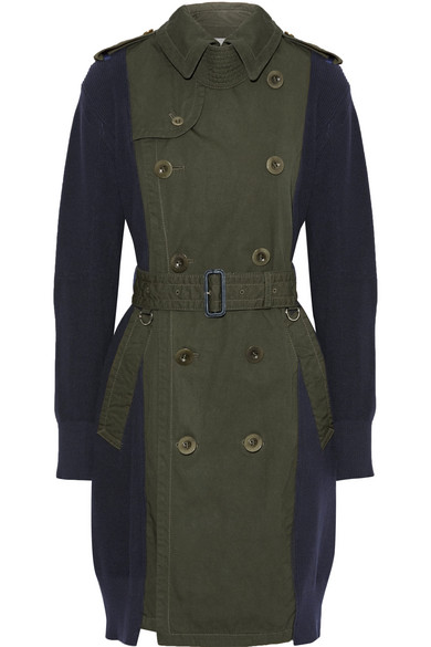 Sacai - Ribbed-knit Cotton And Gabardine Trench Coat - Army green