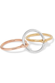 Three Lovers set of three gold-dipped, rose gold-dipped and silver rings