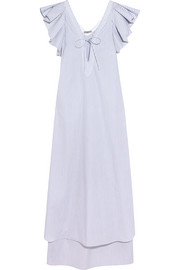 Cordelia ruffled striped cotton-poplin maxi dress