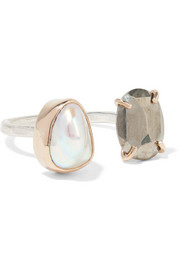 Melissa Joy Manning 14-karat gold, sterling silver, pearl and pyrite ring