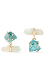 14-karat gold, apatite and fuschite earrings