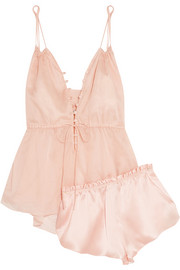 Adriana and Ariel cotton-mousseline and silk-satin pajama set