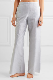 Basilio striped cotton and linen-blend pajama pants