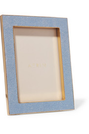 AERIN Faux shagreen and suede picture frame