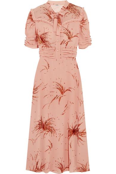 Miu Miu - Ruffled Metallic Embroidered Georgette Midi Dress - Blush