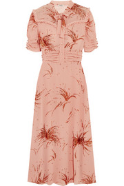 Miu Miu Ruffled metallic embroidered georgette midi dress