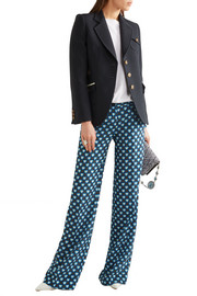 Miu Miu Printed silk crepe de chine flared pants