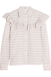 Ruffle-trimmed checked cotton-poplin shirt