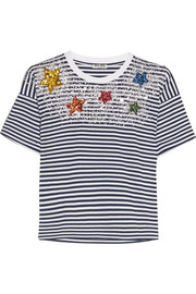 Embellished striped cotton-jersey T-shirt