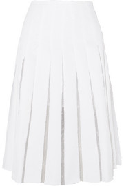 Olivia pleated cotton-blend twill and organza skirt