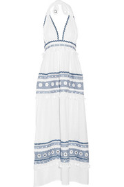 Embellished embroidered cotton-gauze halterneck maxi dress