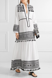 Embellished embroidered cotton-gauze maxi dress
