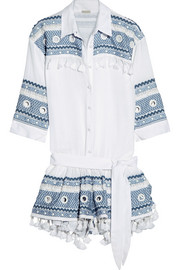 Embellished embroidered cotton-gauze playsuit