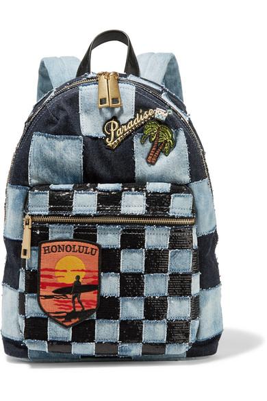 marc jacobs female marc jacobs biker leathertrimmed embellished patchwork denim backpack dark denim