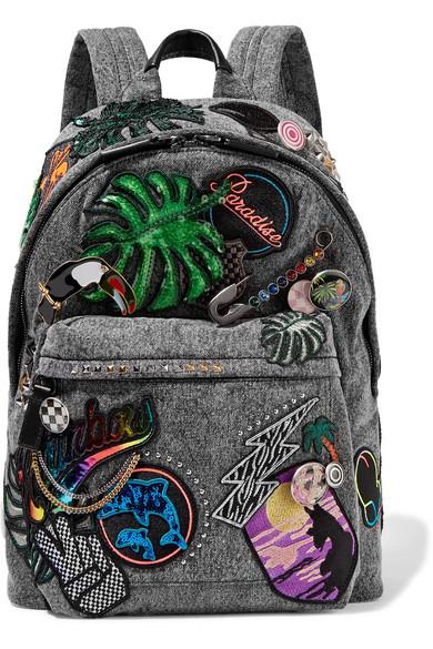 marc jacobs female marc jacobs paradise biker embellished denim backpack dark gray
