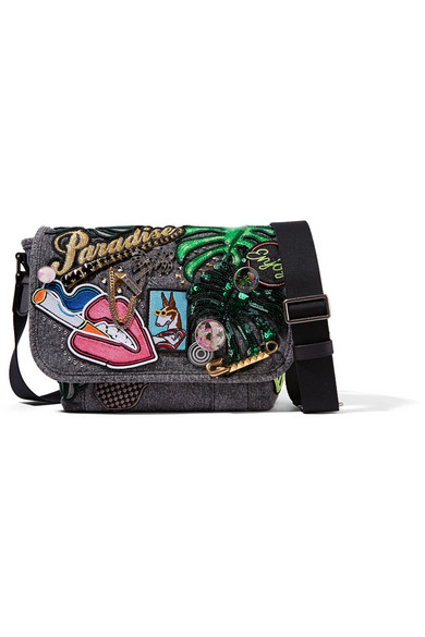 marc jacobs female 123868 marc jacobs paradise embellished cottoncanvas shoulder bag dark gray