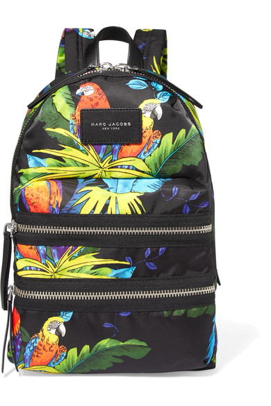 marc jacobs female 188971 marc jacobs leathertrimmed printed shell backpack black
