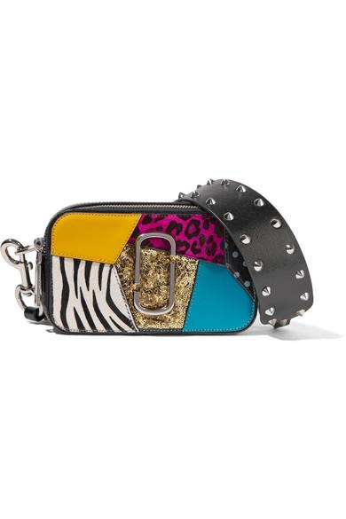 51b82ddc6099 Marc Jacobs. Snapshot Punk calf hair-trimmed embellished textured-leather  shoulder bag