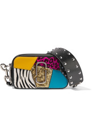 Marc Jacobs Snapshot Punk calf hair-trimmed embellished textured-leather shoulder bag