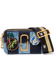 Marc Jacobs Snapshot leather-trimmed patchwork denim shoulder bag