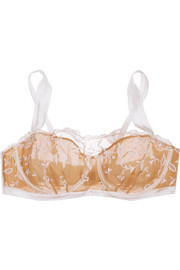 Elle Macpherson Body Embroidered tulle and stretch-silk satin underwired bra
