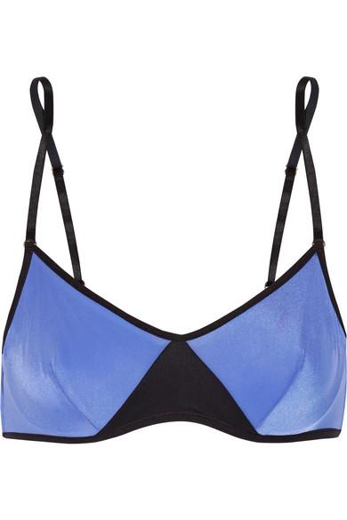 ELLE MACPHERSON BODY Woman Two-Tone Stretch-Jersey Underwired Bra Indigo in Blue