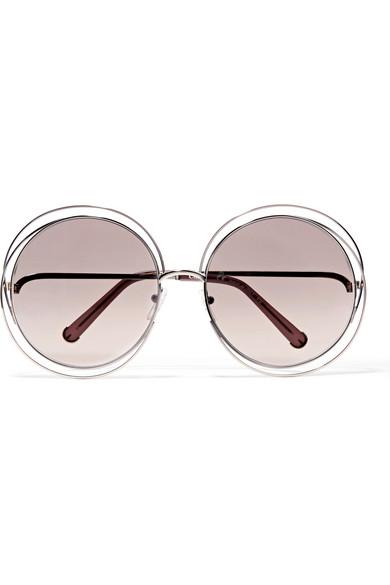 Chloé | Carlina round-frame gold-tone sunglasses | NET-A-PORTER.COM