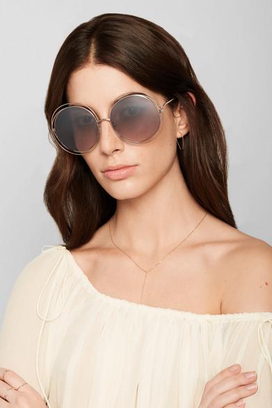 Chlo 233 Carlina Round Frame Gold Tone Sunglasses Net A