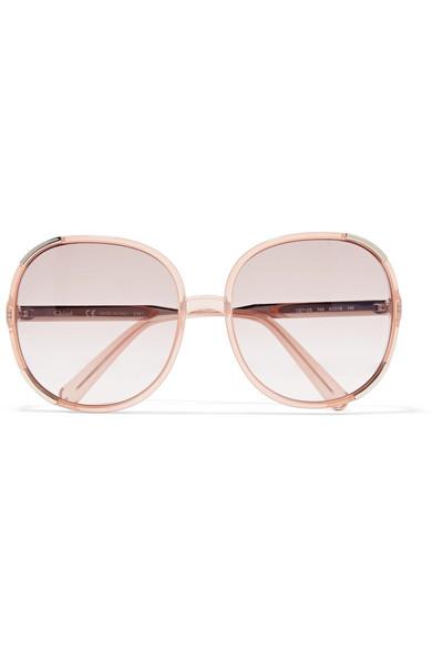 ChloÉ Myrte Square-frame Acetate Sunglasses In Peach