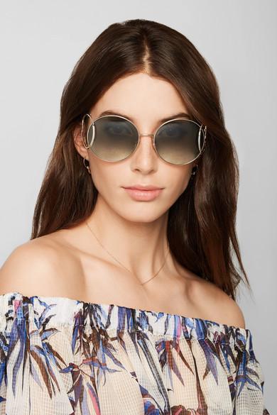 Chloe Jackson round-frame gold-tone sunglasses NET-A ...