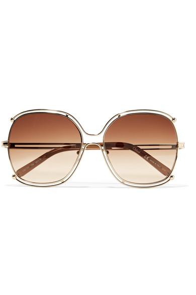 Chloe 79s Gold Frame Sunglasses : Chloe Isidora gold-tone square-frame sunglasses NET-A ...
