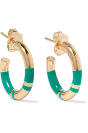 Aurélie Bidermann Positano enameled gold-plated hoop earrings