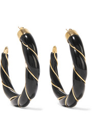 Diana gold-plated enamel hoop earrings