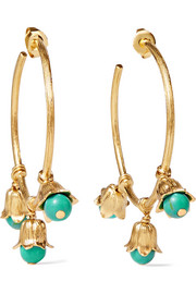 Aurélie Bidermann Lily of the Valley gold-plated beaded hoop earrings