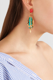 Monteroso gold-plated beaded clip earrings