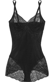 Spotlight lace-paneled stretch-mesh bodysuit