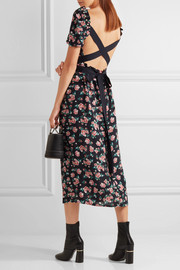 Zoe open-back floral-print silk midi dress