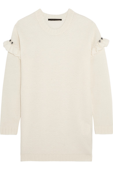 Mother of Pearl - Freda Embellished Ruffle-trimmed Waffle-knit Wool-blend Sweater - Cream